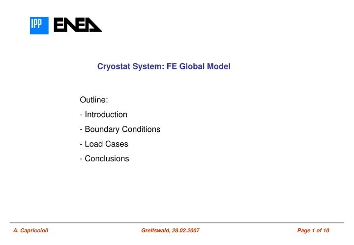 Cryostat System: FE Global Model