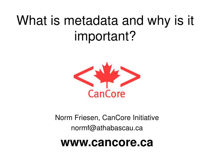 what is metadata and why is it important n.