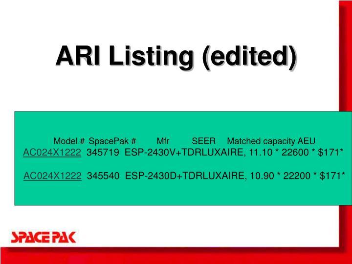 ARI Listing (edited)