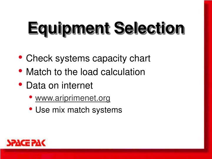 Equipment Selection