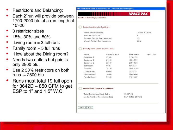 Restrictors and Balancing: