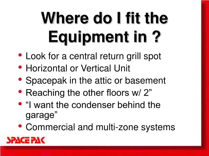 Where do I fit the Equipment in ?