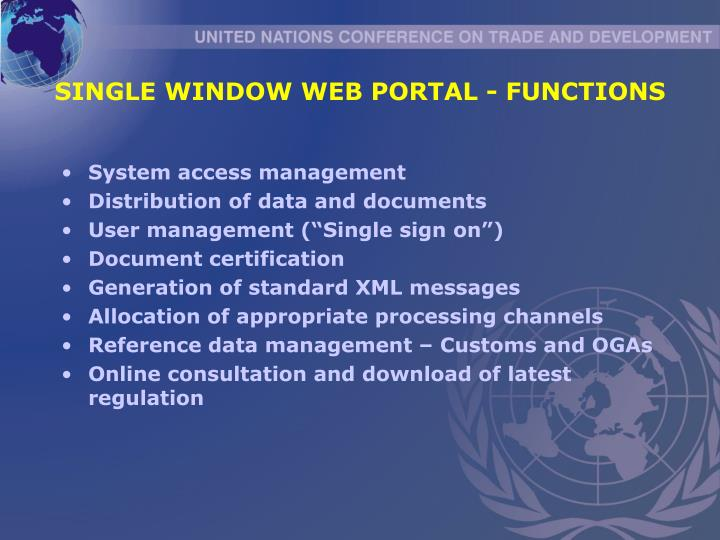 SINGLE WINDOW WEB PORTAL - FUNCTIONS