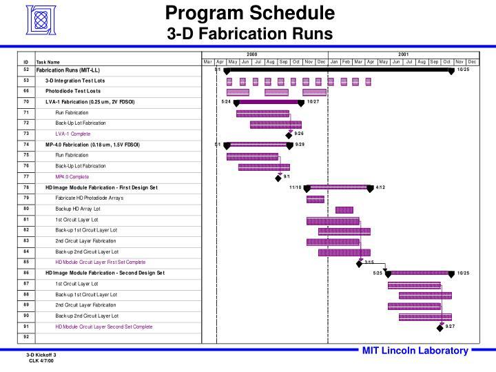 Program schedule 3 d fabrication runs