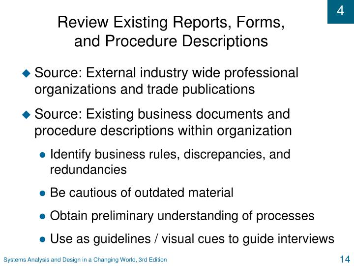Review Existing Reports, Forms,