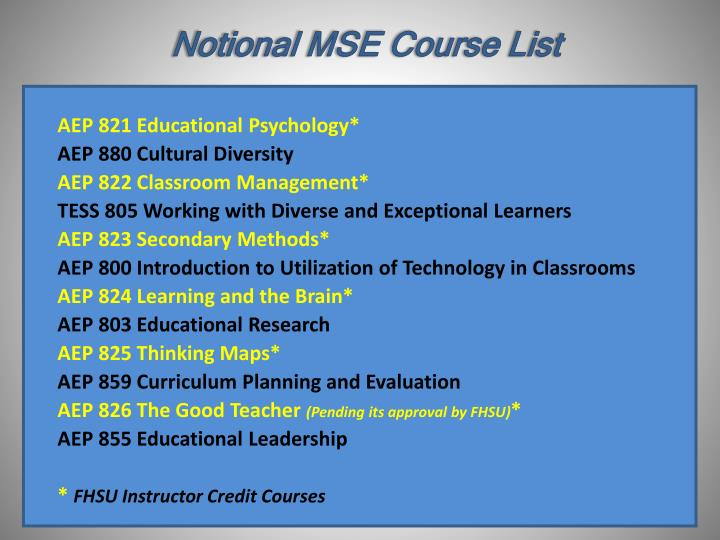Notional MSE Course List