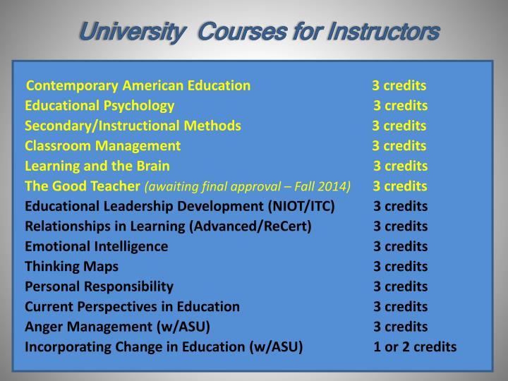 University  Courses for Instructors