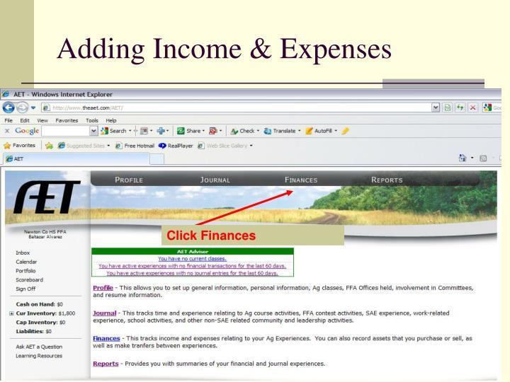 Adding Income & Expenses