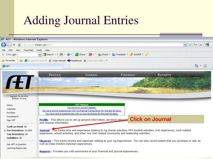 Adding Journal Entries