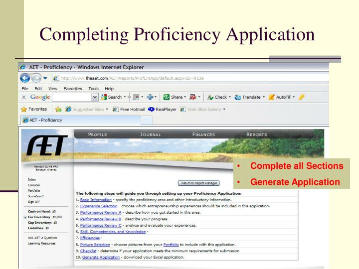 Completing Proficiency Application