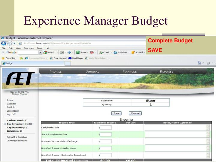 Experience Manager Budget