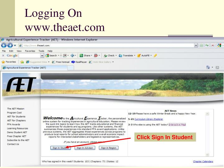 Logging on www theaet com