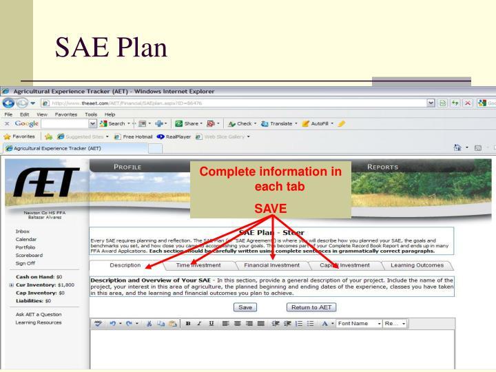 SAE Plan