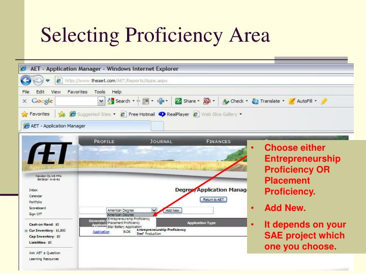 Selecting Proficiency Area