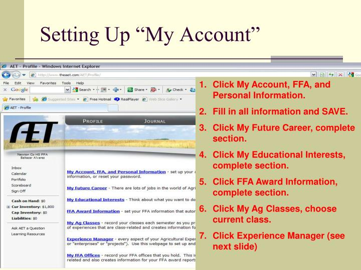 """Setting Up """"My Account"""""""