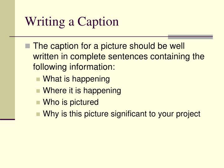 Writing a Caption