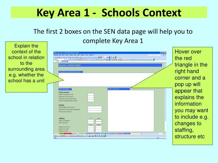Key Area 1 -  Schools Context