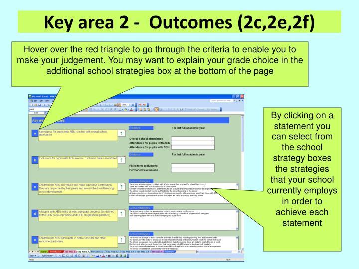 Key area 2 -  Outcomes (2c,2e,2f)