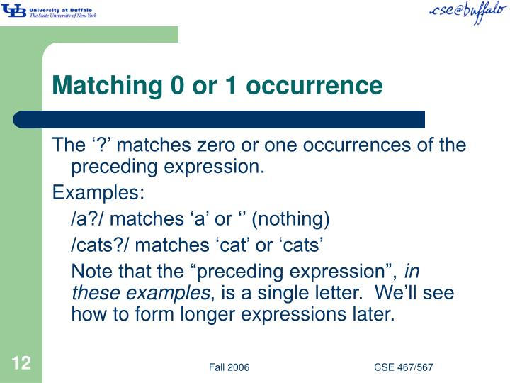 Matching 0 or 1 occurrence