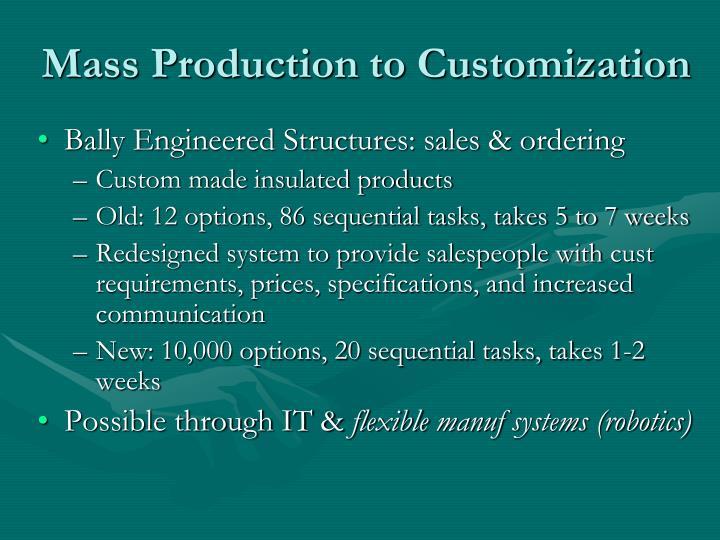 Mass Production to Customization