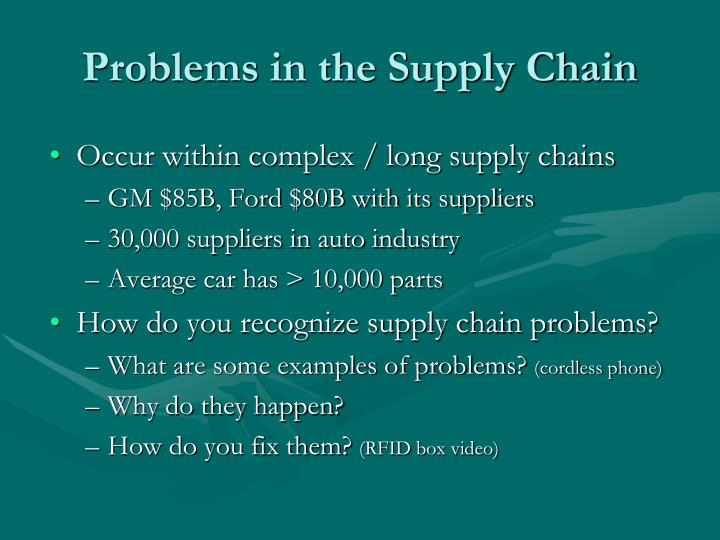 Problems in the Supply Chain