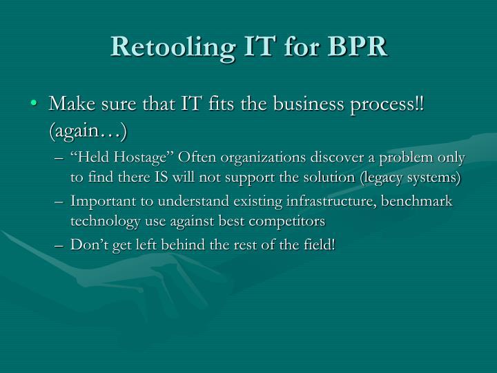 Retooling IT for BPR