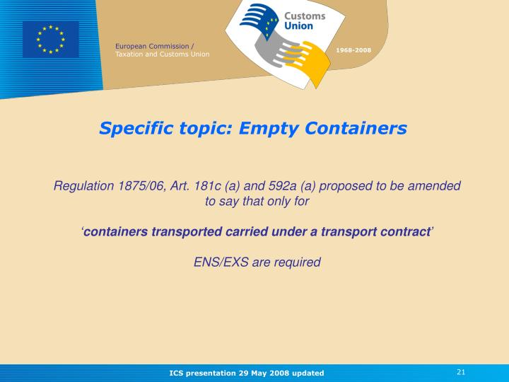 Specific topic: Empty Containers