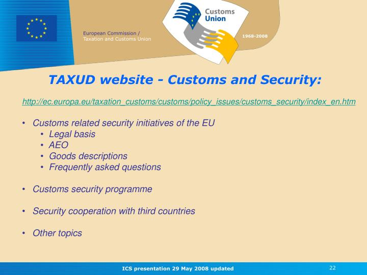 TAXUD website - Customs and Security: