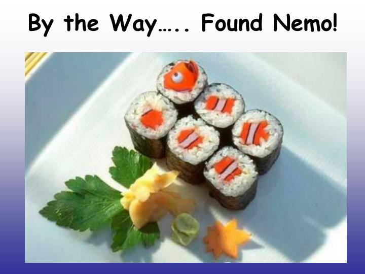 By the Way….. Found Nemo!