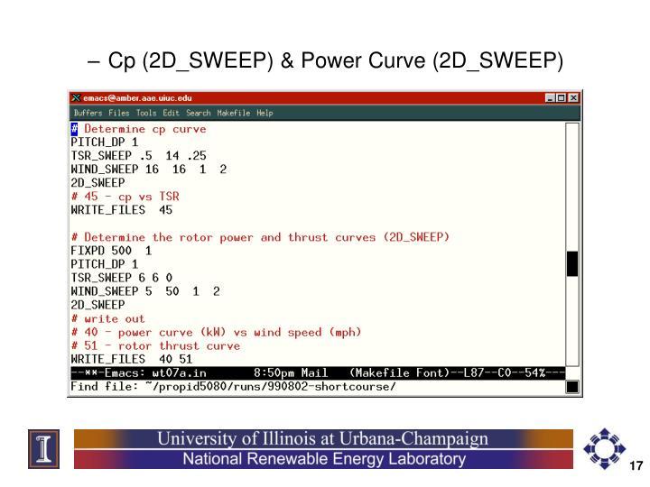 Cp (2D_SWEEP) & Power Curve (2D_SWEEP)