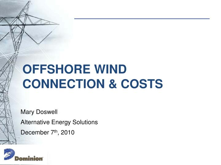 Offshore wind connection costs