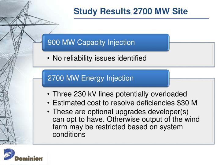 Study Results 2700 MW Site