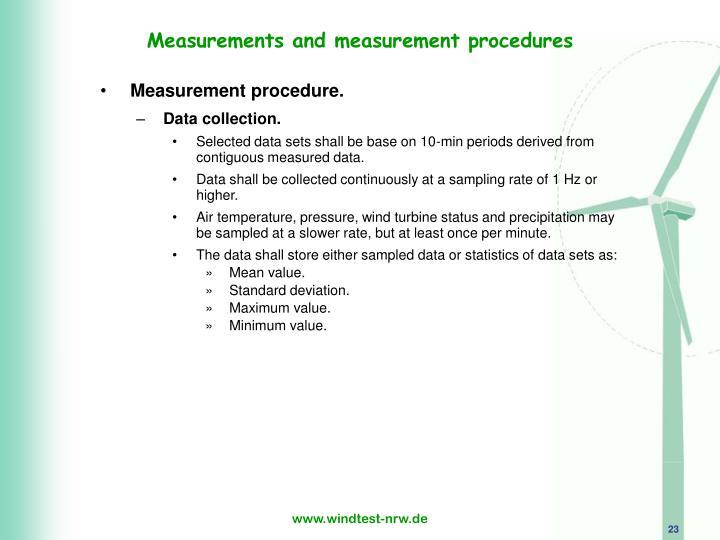 Measurements and measurement procedures