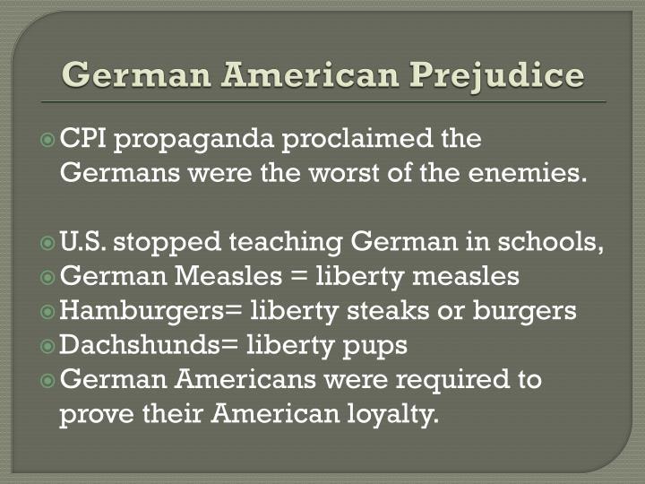 German American Prejudice
