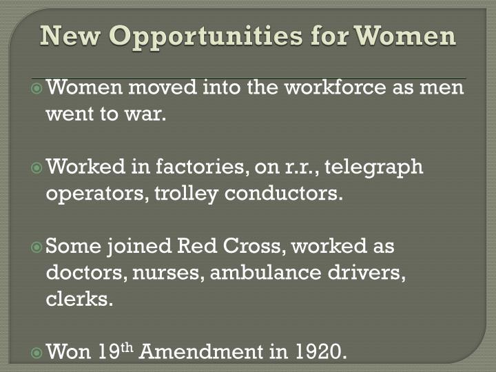 New Opportunities for Women