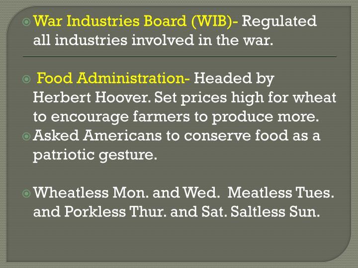 War Industries Board (WIB)-