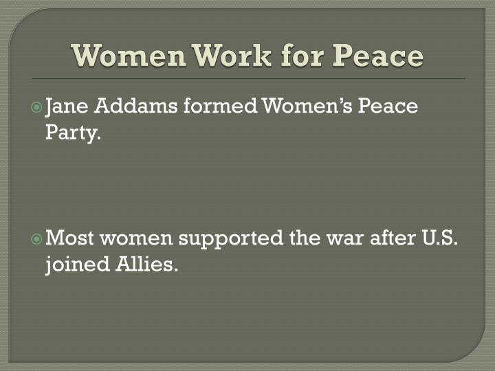 Women Work for Peace