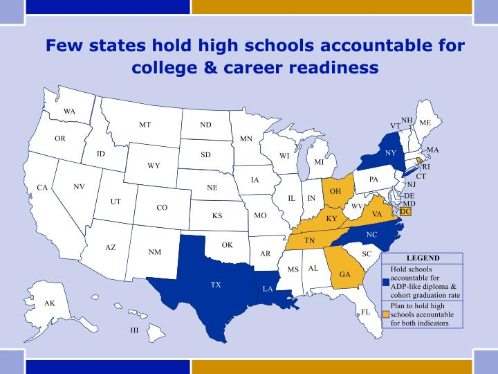 Few states hold high schools accountable for college & career readiness