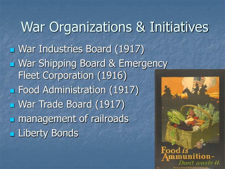 War Organizations & Initiatives