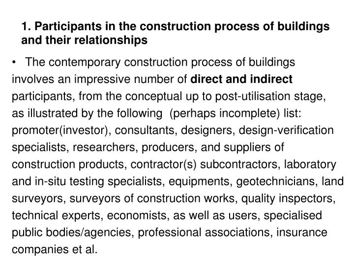 1 participants in the construction process of buildings and their relationships