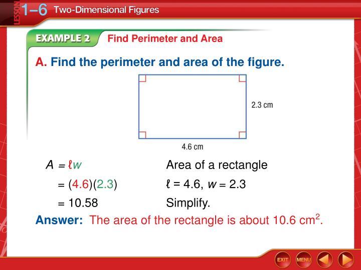 Find Perimeter and Area