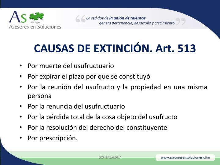 CAUSAS DE EXTINCIÓN. Art. 513