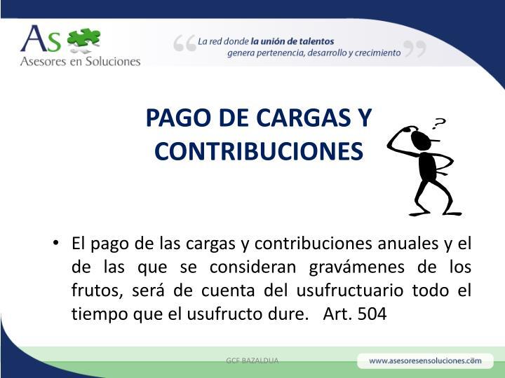 PAGO DE CARGAS Y