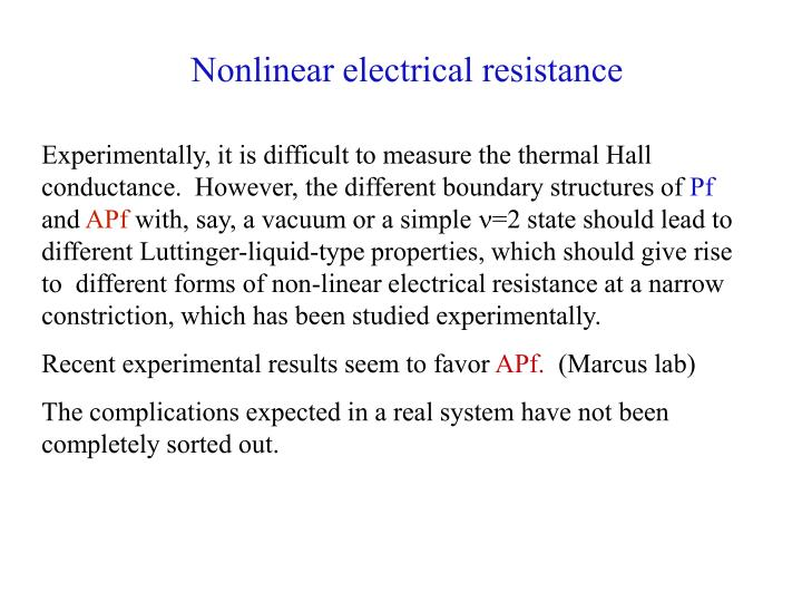 Nonlinear electrical resistance