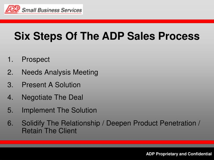 Six Steps Of The ADP Sales Process