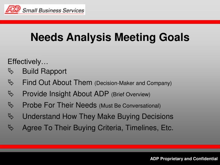Needs Analysis Meeting Goals