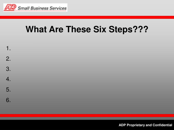 What Are These Six Steps???
