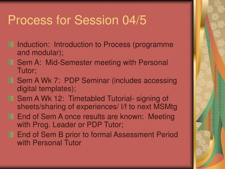 Process for Session 04/5