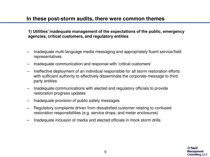In these post-storm audits, there were common themes