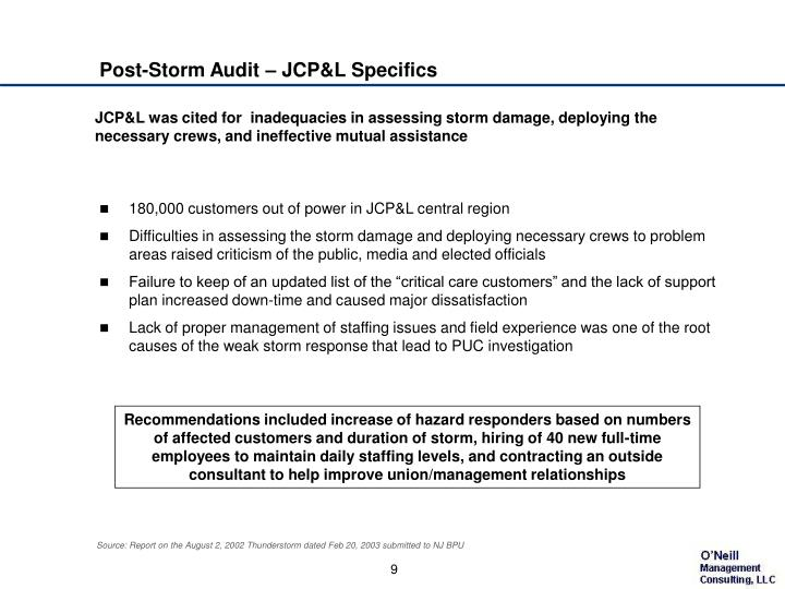 Post-Storm Audit – JCP&L Specifics